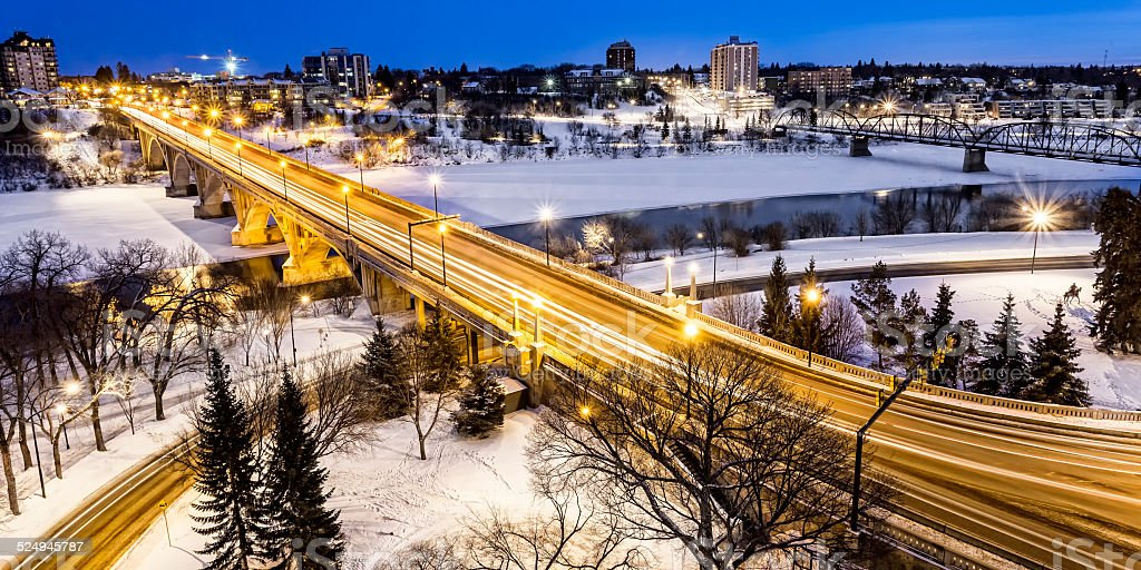 Bridge at Night in Winter stock photo