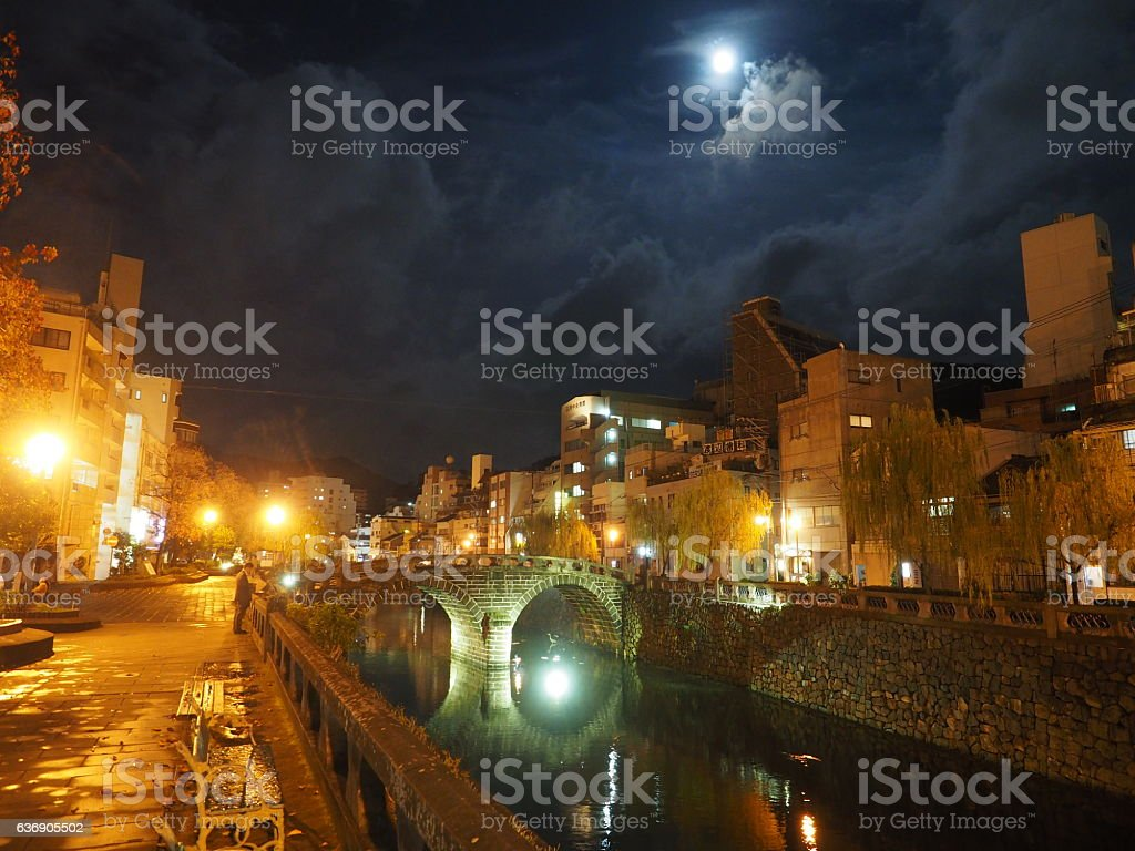Bridge at night stock photo