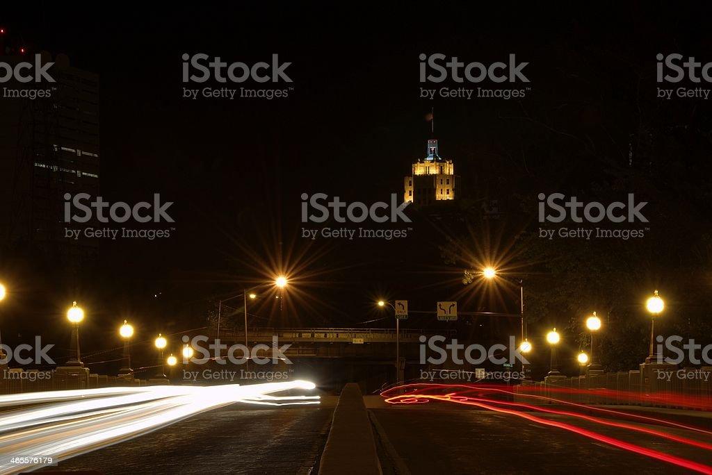 Bridge At Night; Traffic stock photo