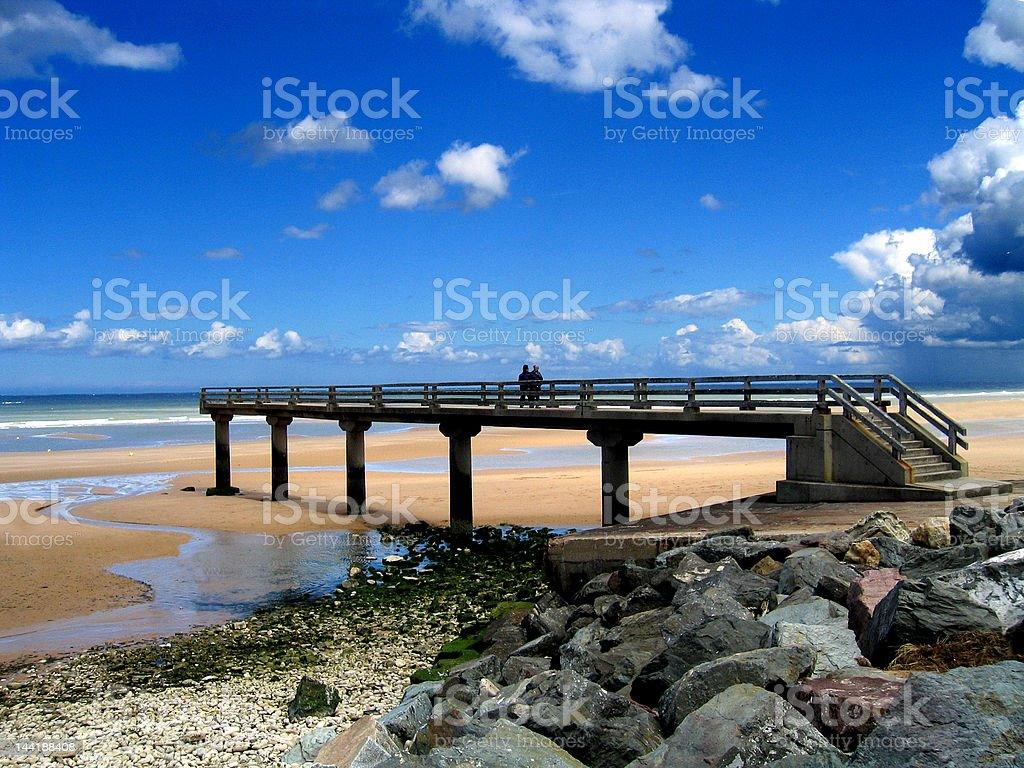 Bridge at Omaha beach stock photo