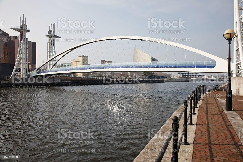 Bridge at Salford Quays stock photo