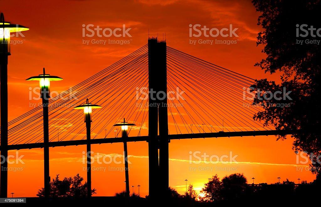 Bridge at sunset in Savannah stock photo