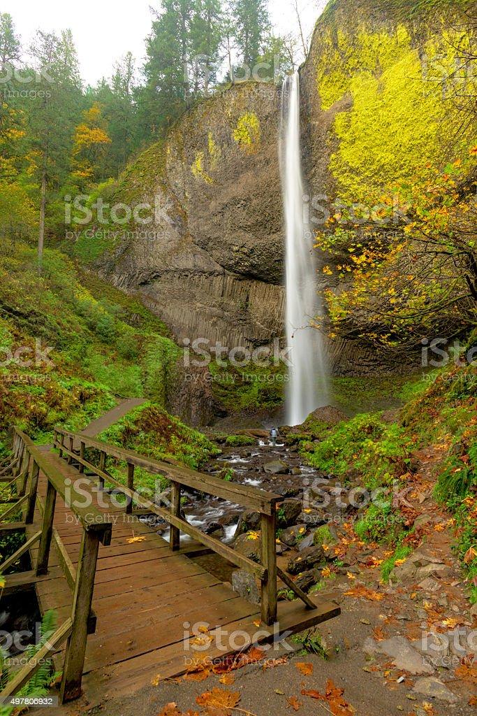 Bridge at the base of Latourell Falls Oregon stock photo