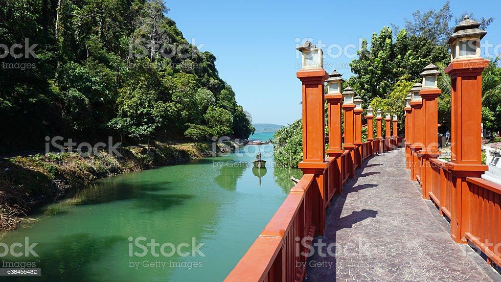 bridge at the sea stock photo