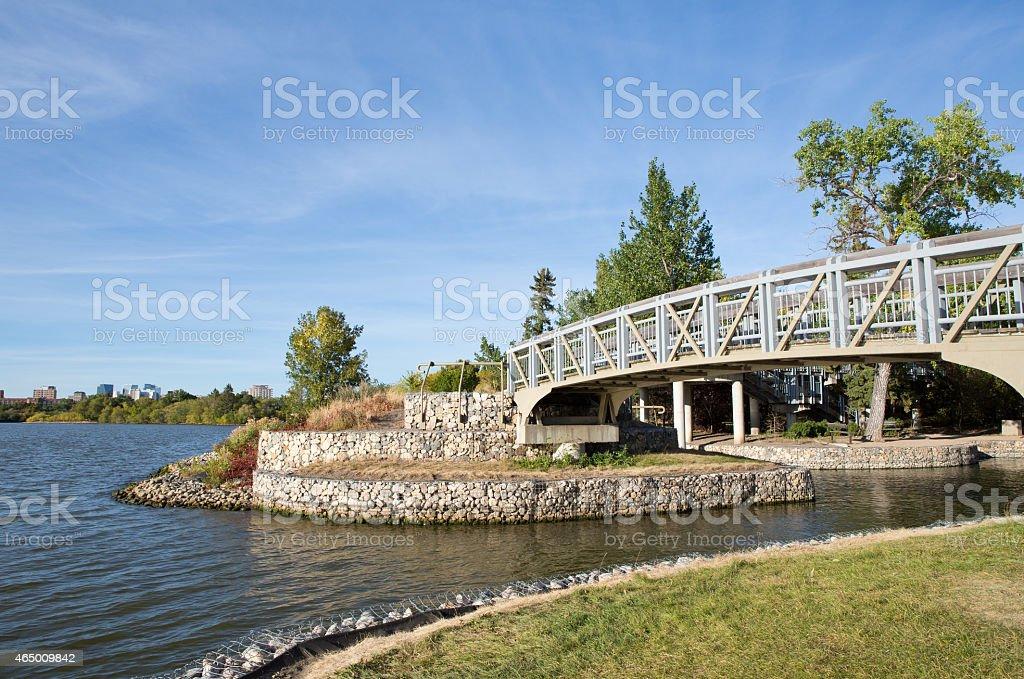 Bridge at Traflager Overlook and Pond - Wascana Lake Regina stock photo