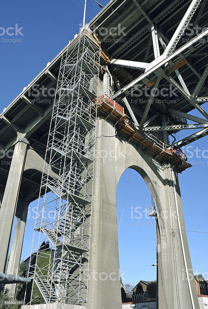 Bridge being retrofitted for earthquake in Seattle WA stock photo