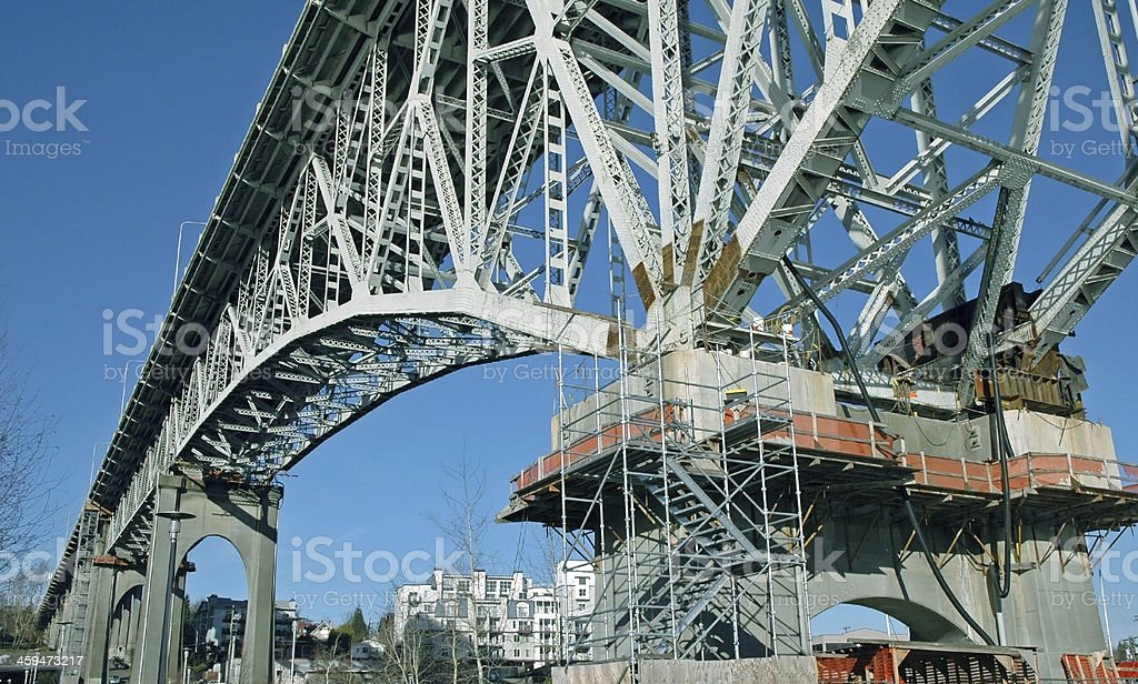 Bridge being retrofitted for seismic activity in Seattle WA stock photo