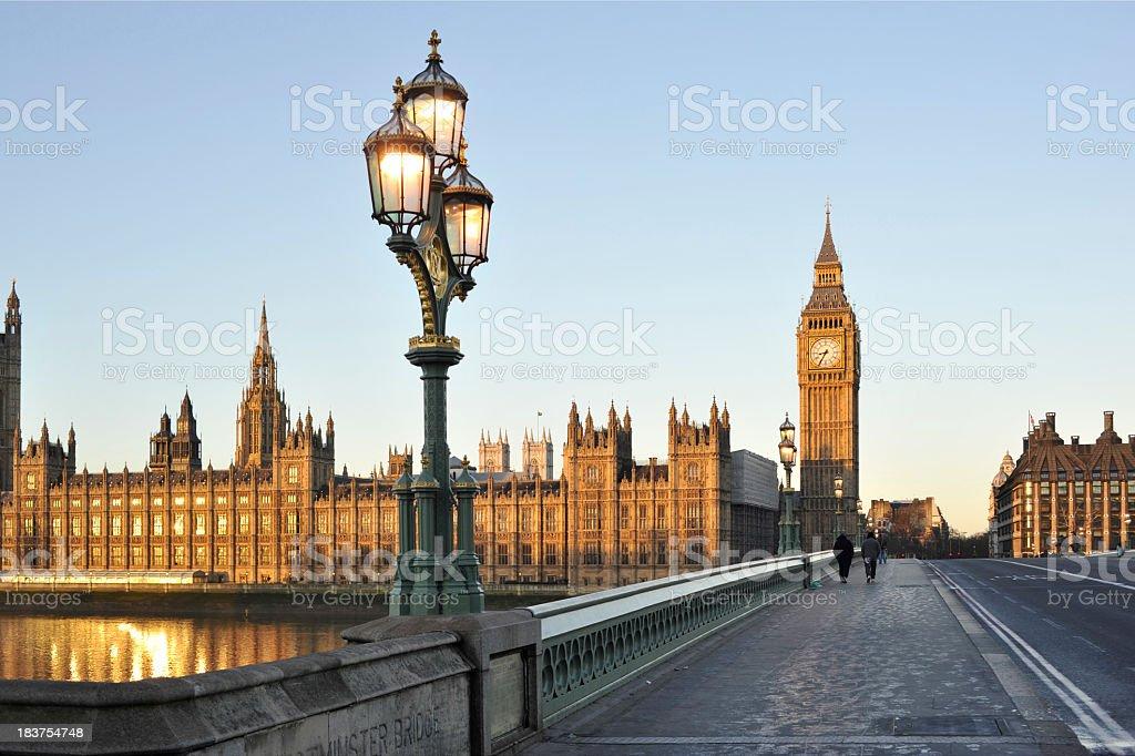 Bridge beside the Houses of Parliament, London, England stock photo