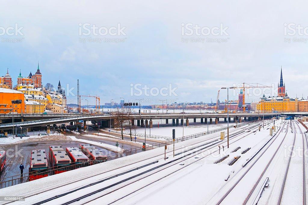 Bridge between Winter Norr Sodermalm and Riddarholmen in Stockholm stock photo