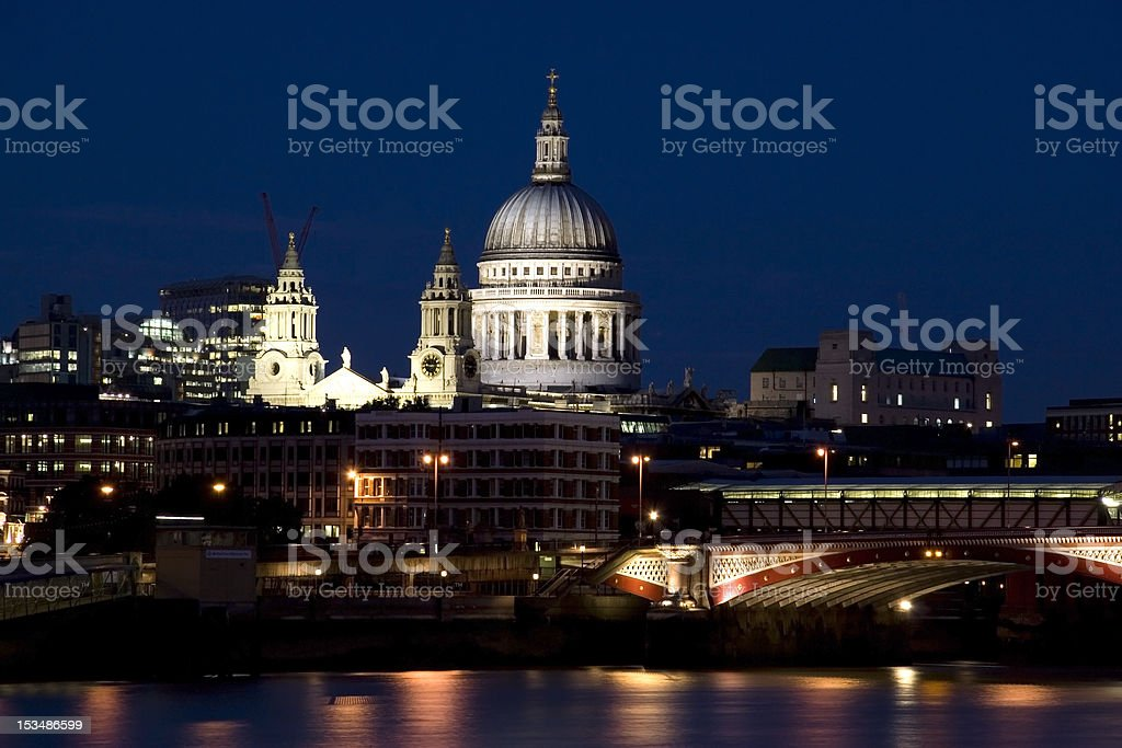 Bridge Blackfriars with St.Paul Cathedral at night in London royalty-free stock photo