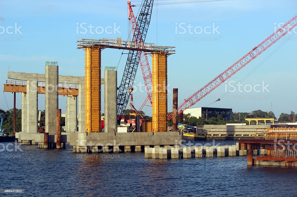 Bridge Building at the North Carolina Coast stock photo