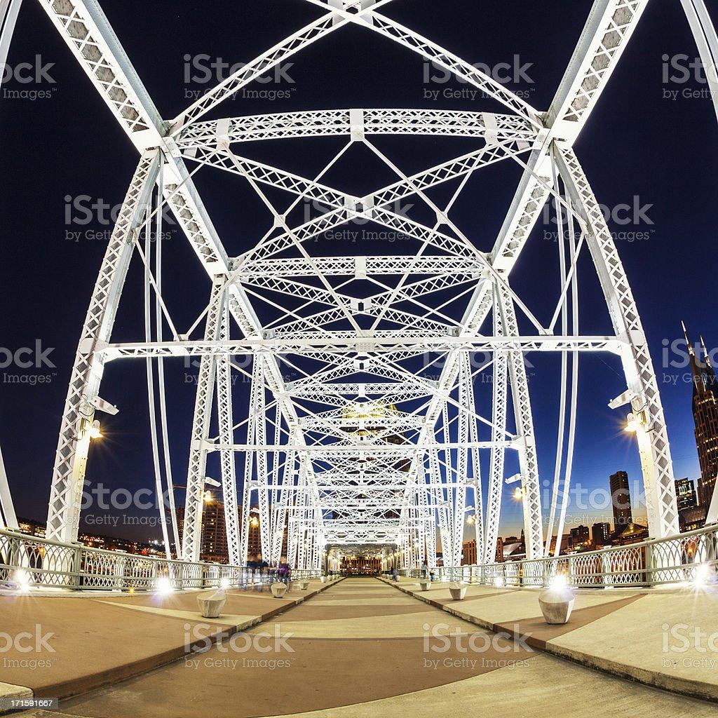 Bridge by Night, Nashville stock photo
