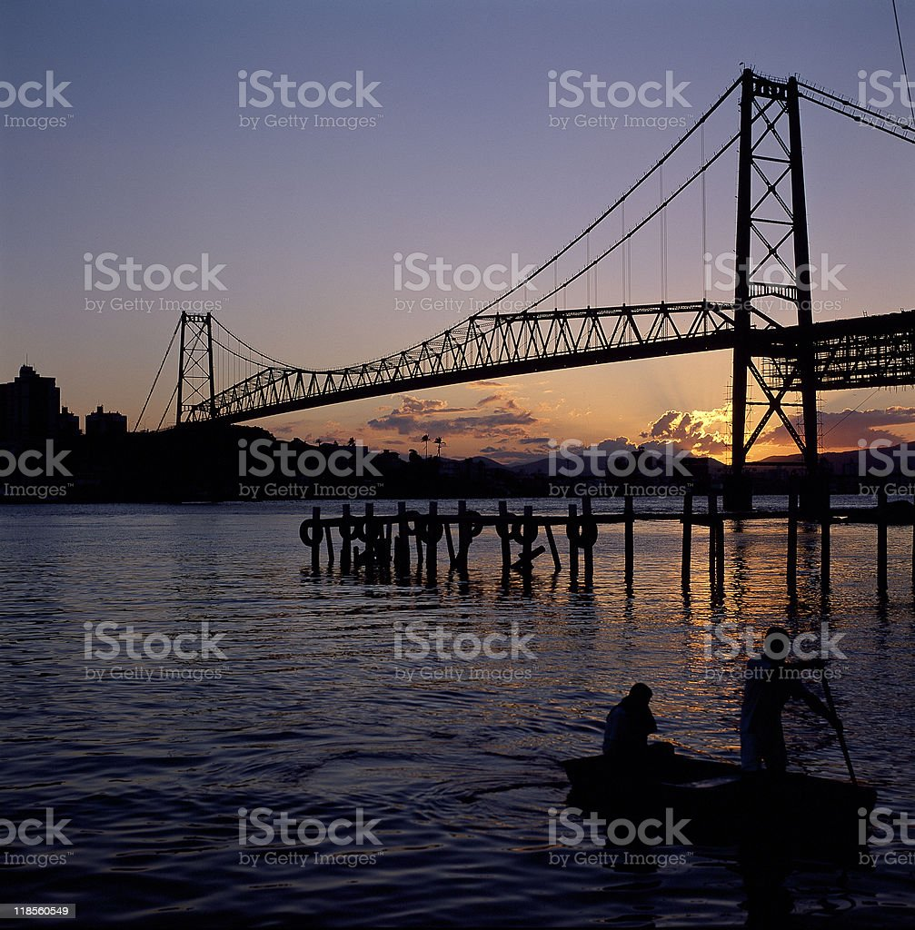 Bridge by sunset stock photo