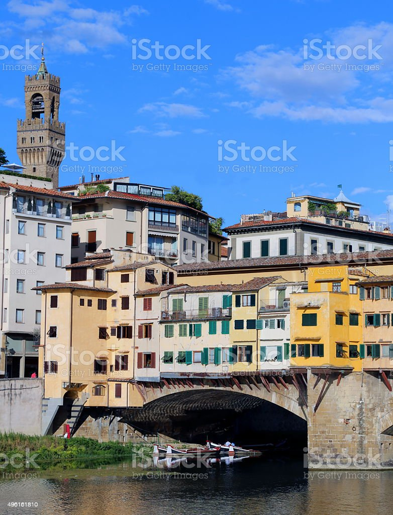 Bridge called Ponte Vecchio in Florence Italy stock photo