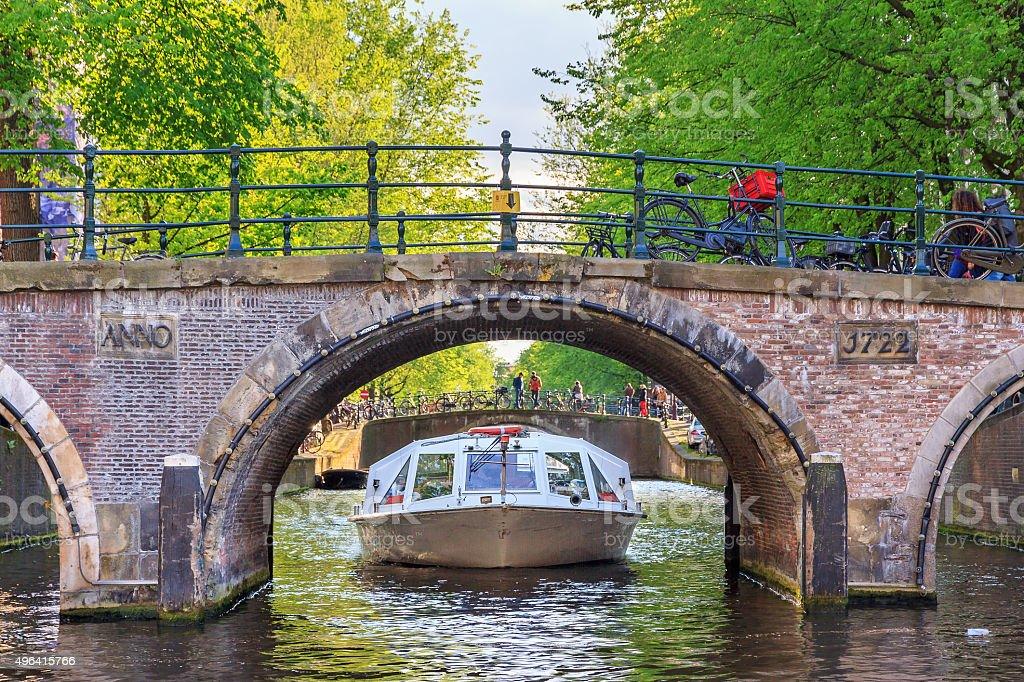 Bridge canal cruise stock photo