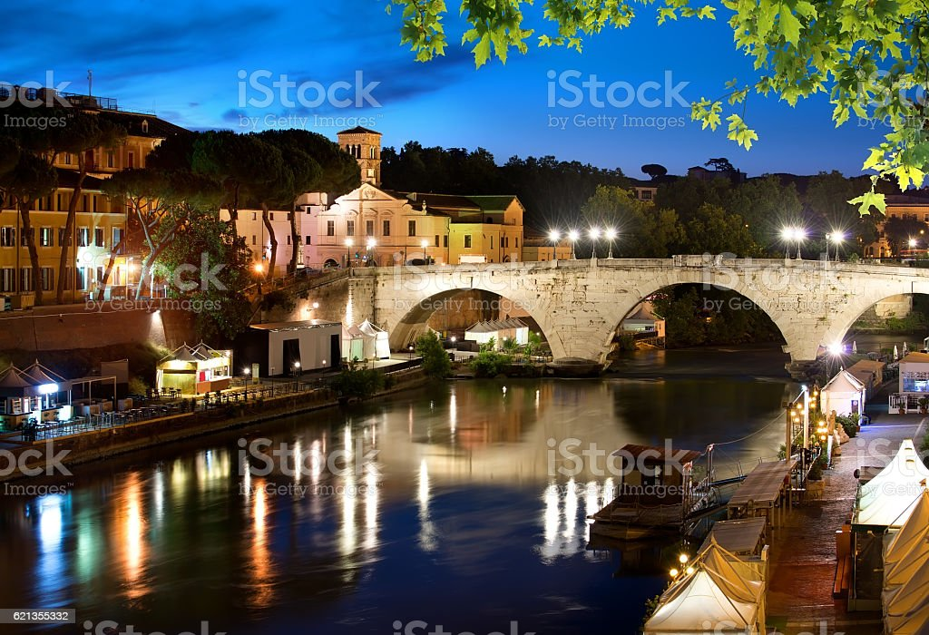 Bridge Cestio in Rome stock photo