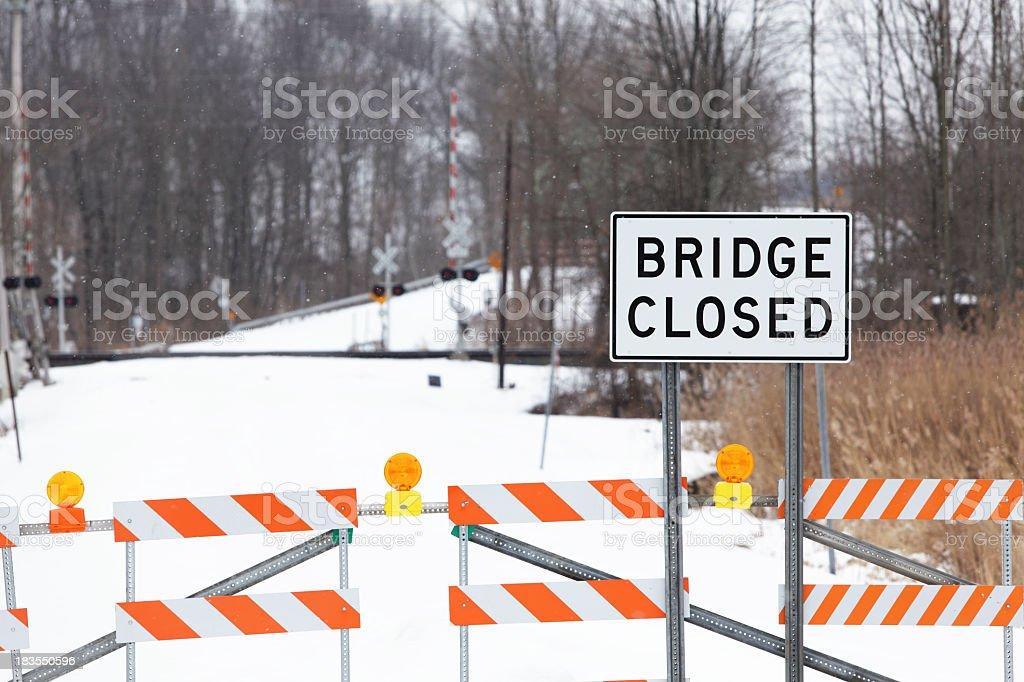Bridge Closed Sign and Caution Lights stock photo