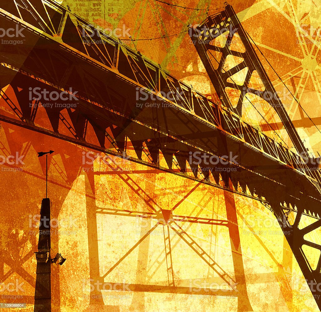 bridge collage using warm tones and colors royalty-free stock photo