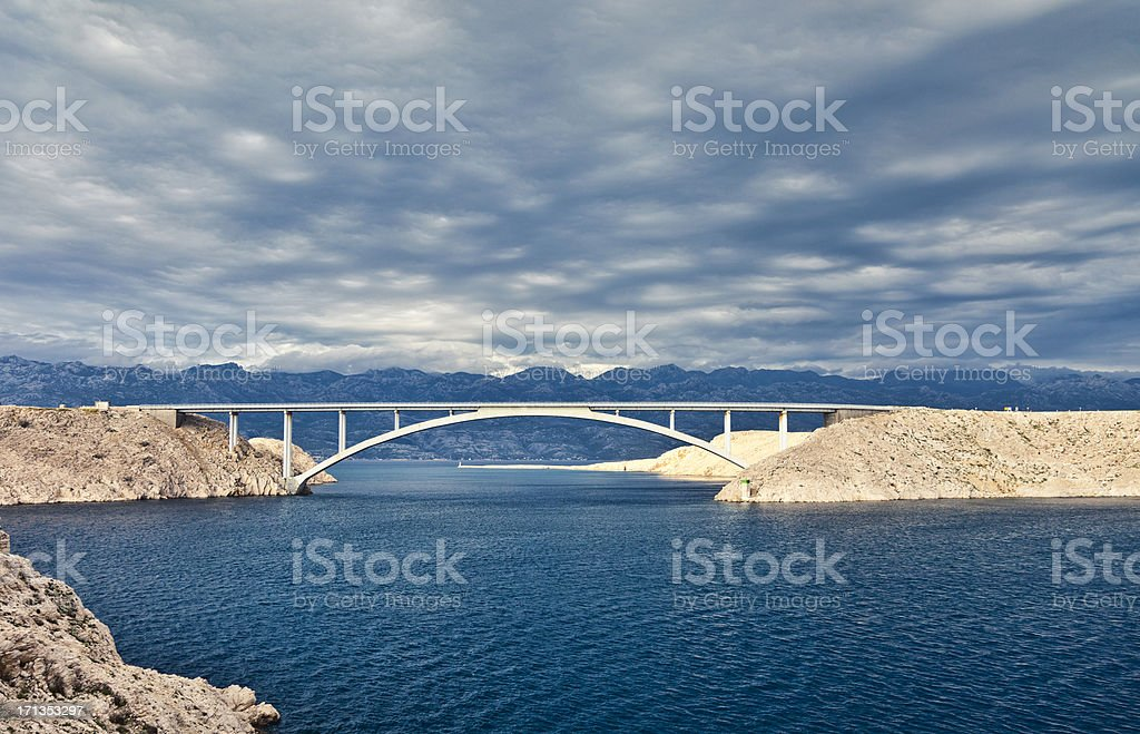 Bridge connecting Island Pag to mainland stock photo