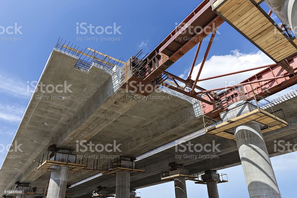 Bridge construction close-up stock photo