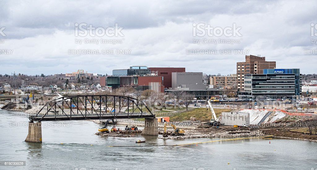 Bridge Construction in Downtown Saskatoon stock photo