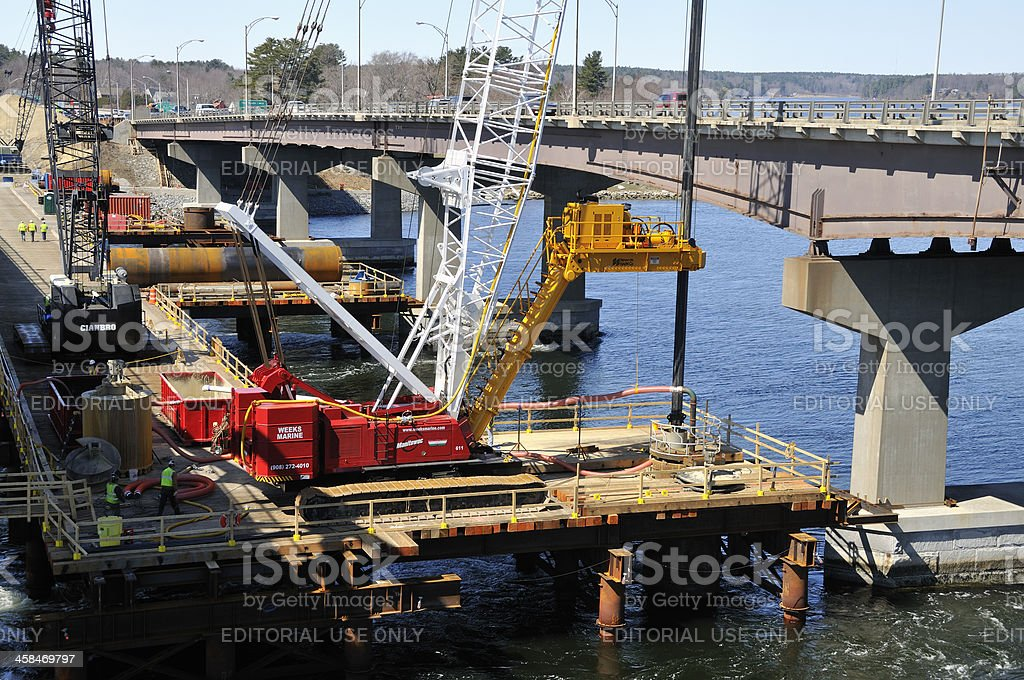 Bridge Construction on the General Sullivan stock photo