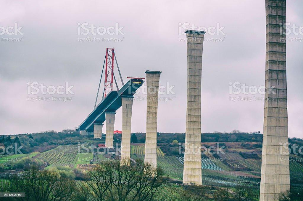 Bridge construction site, High Moselle Bridge stock photo