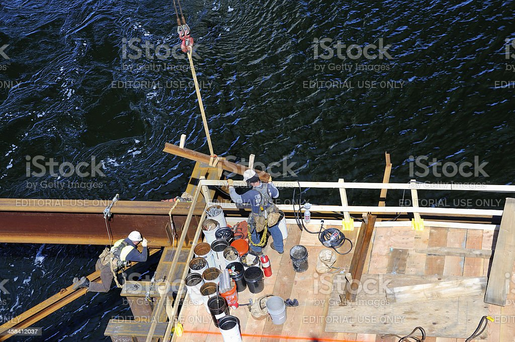 Bridge Construction Workers stock photo