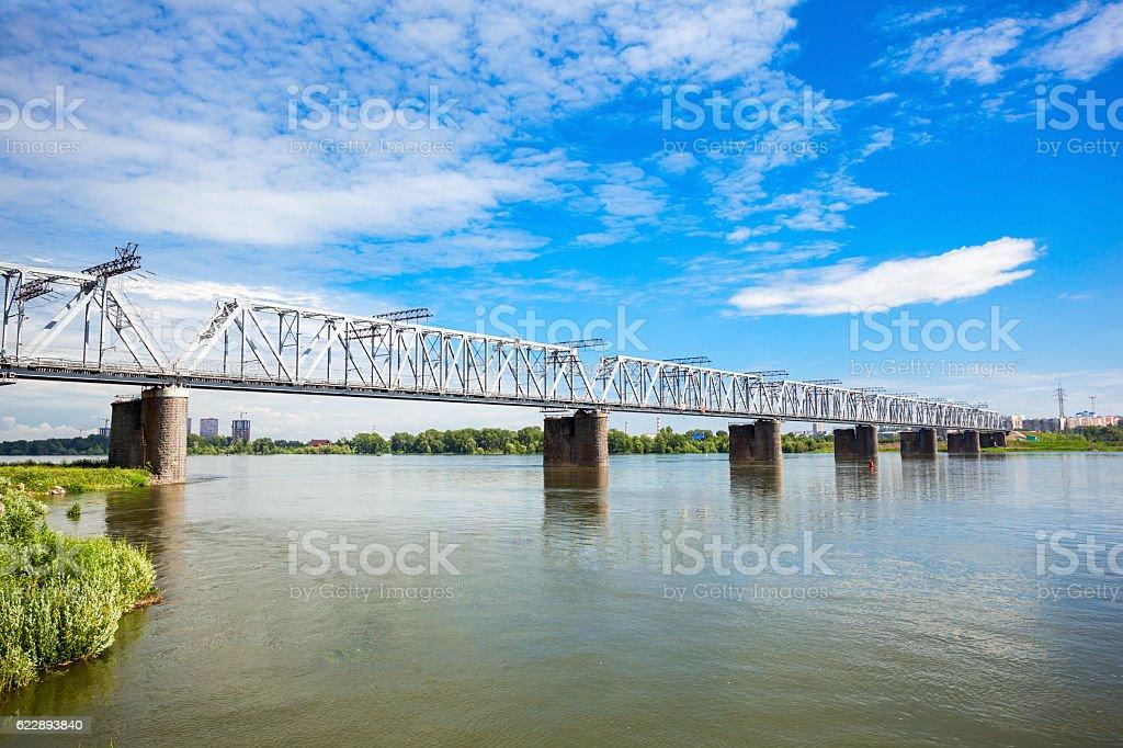 Bridge cross Ob river stock photo