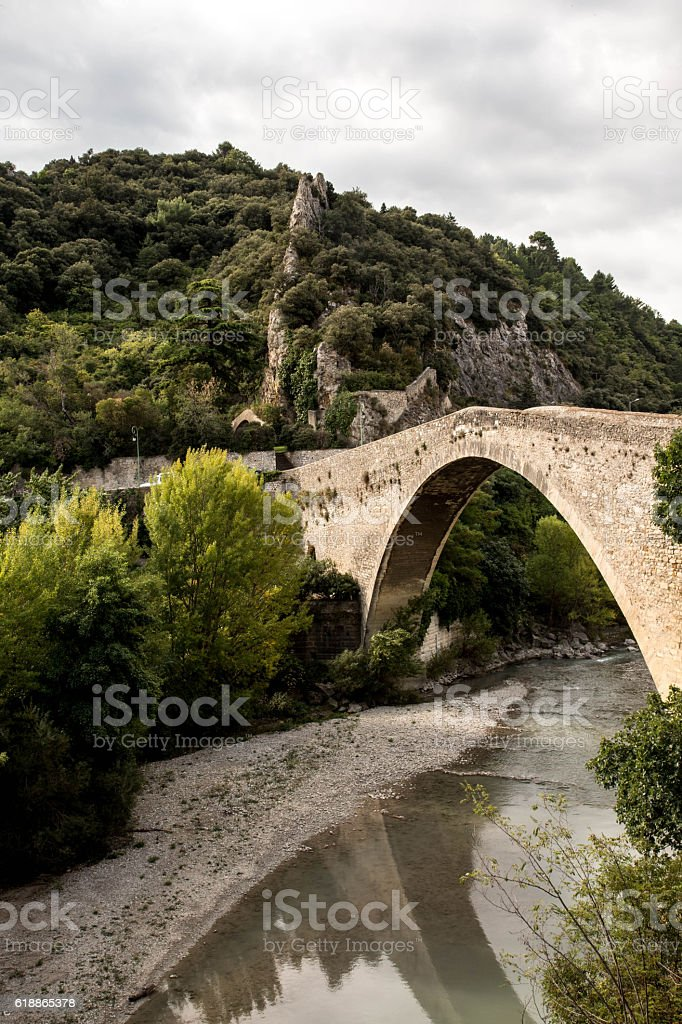 bridge crossing river in Nyons, Provence stock photo
