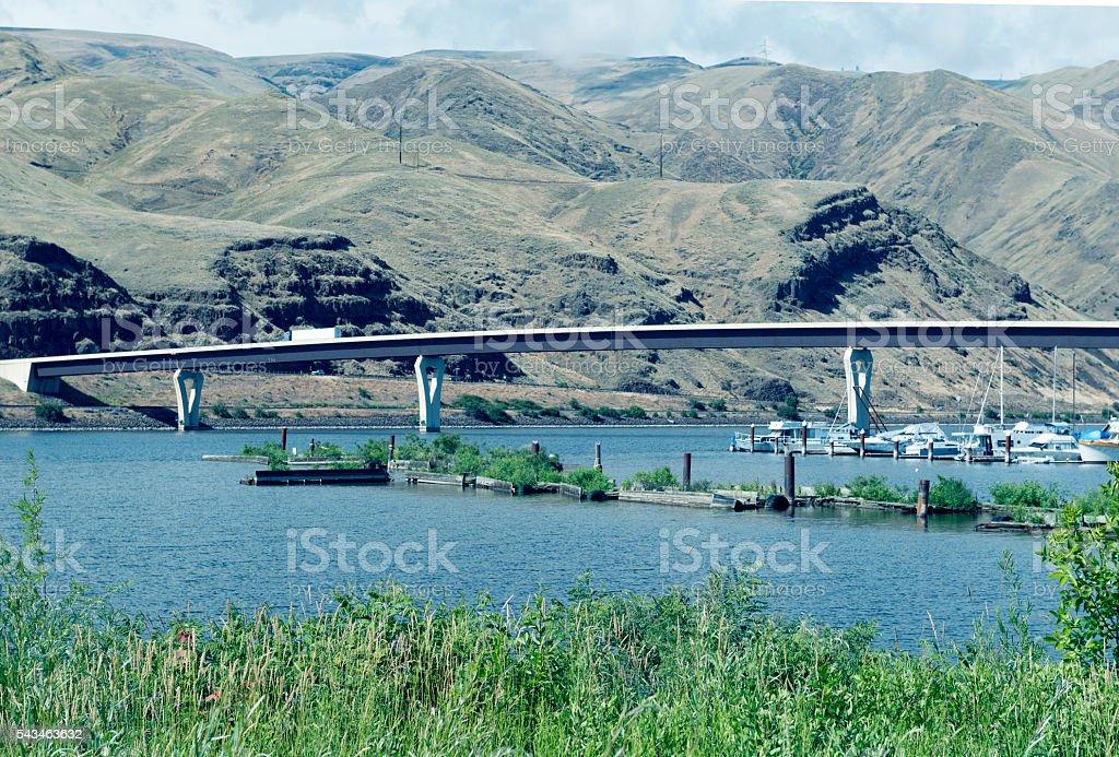 Bridge crossing Snake River above marina at Clarkston WA stock photo