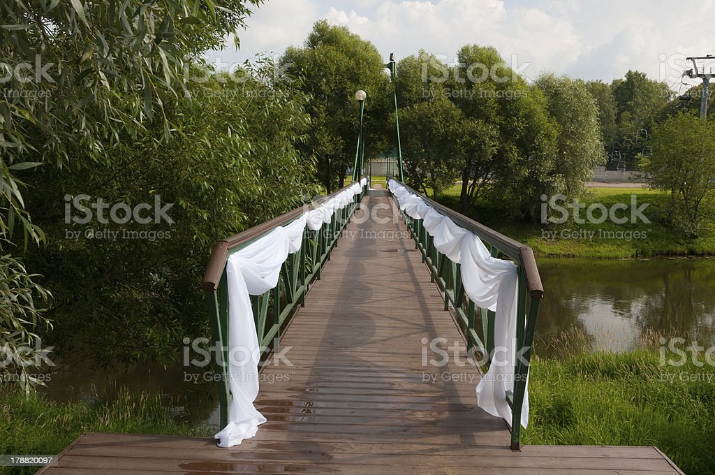 Bridge decorated for wedding royalty-free stock photo