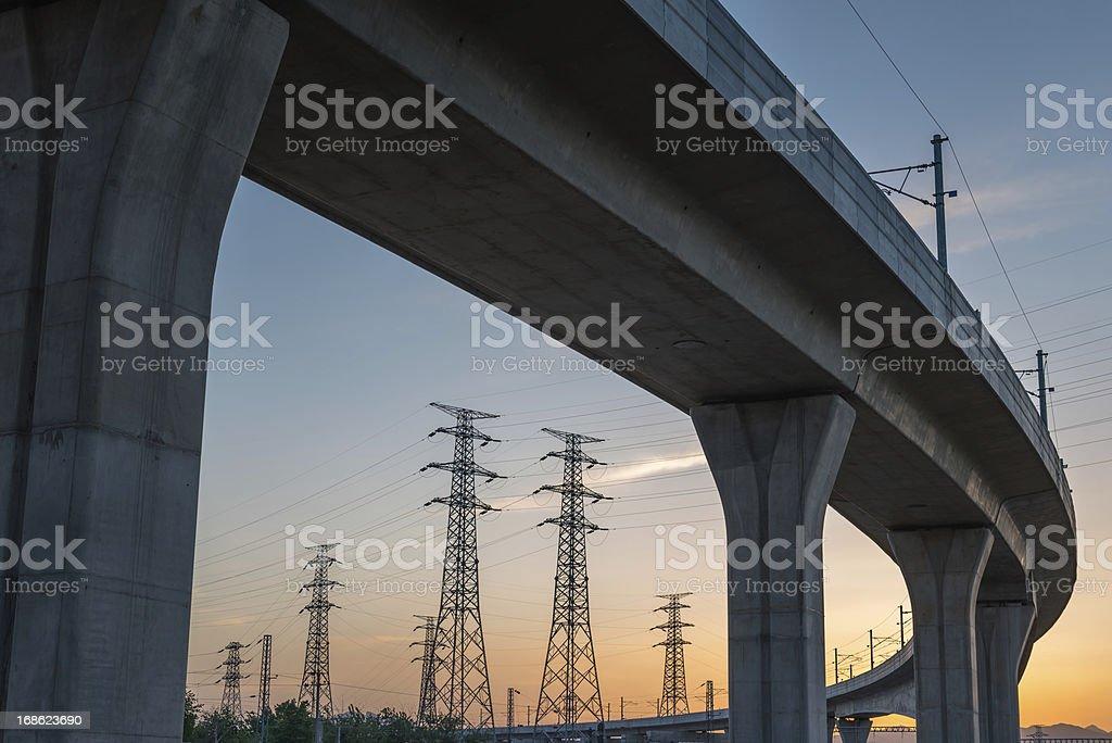 Bridge Electricity Pylon royalty-free stock photo