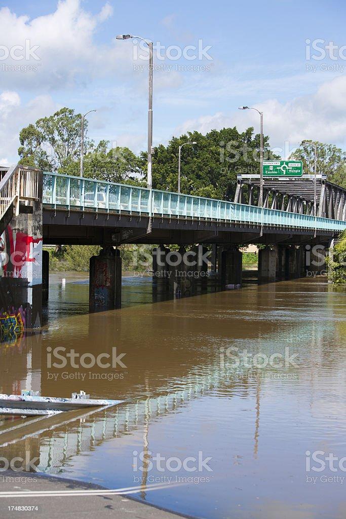 Bridge Flooded River royalty-free stock photo