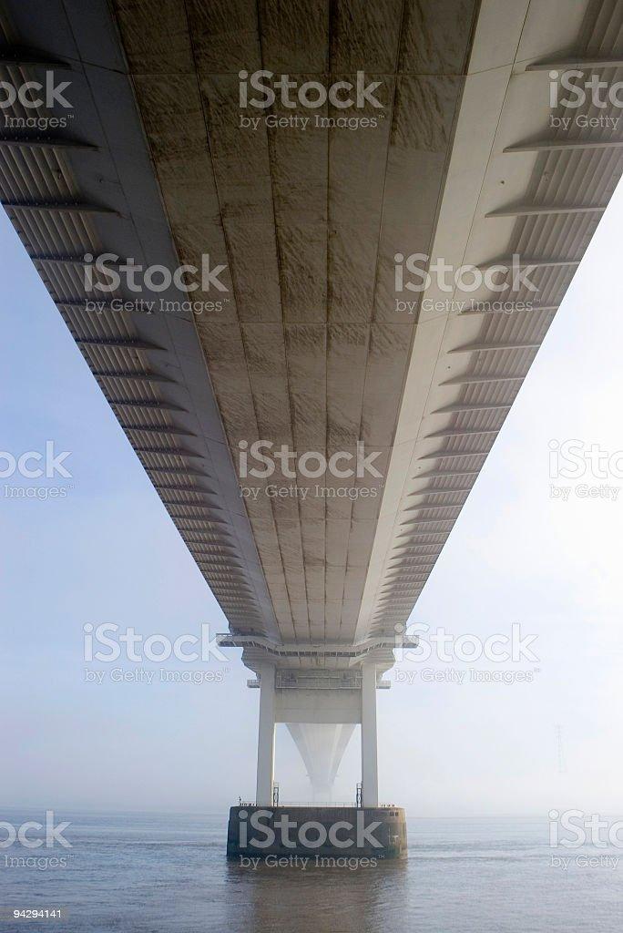 Bridge flying overhead stock photo