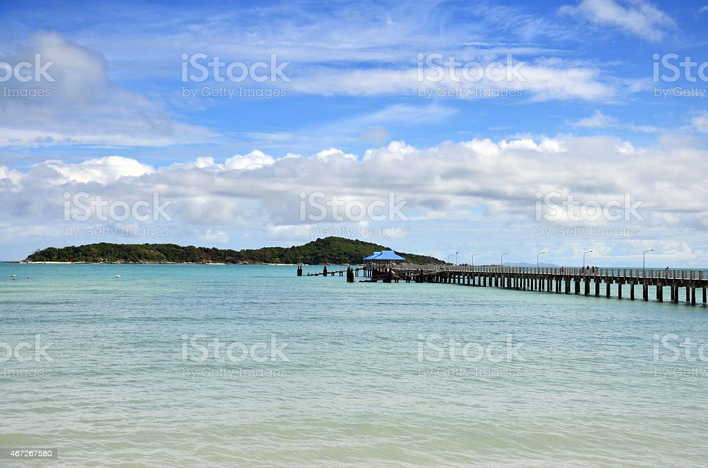 Bridge for walk way at Rawai Beach of Phuket Thailand stock photo