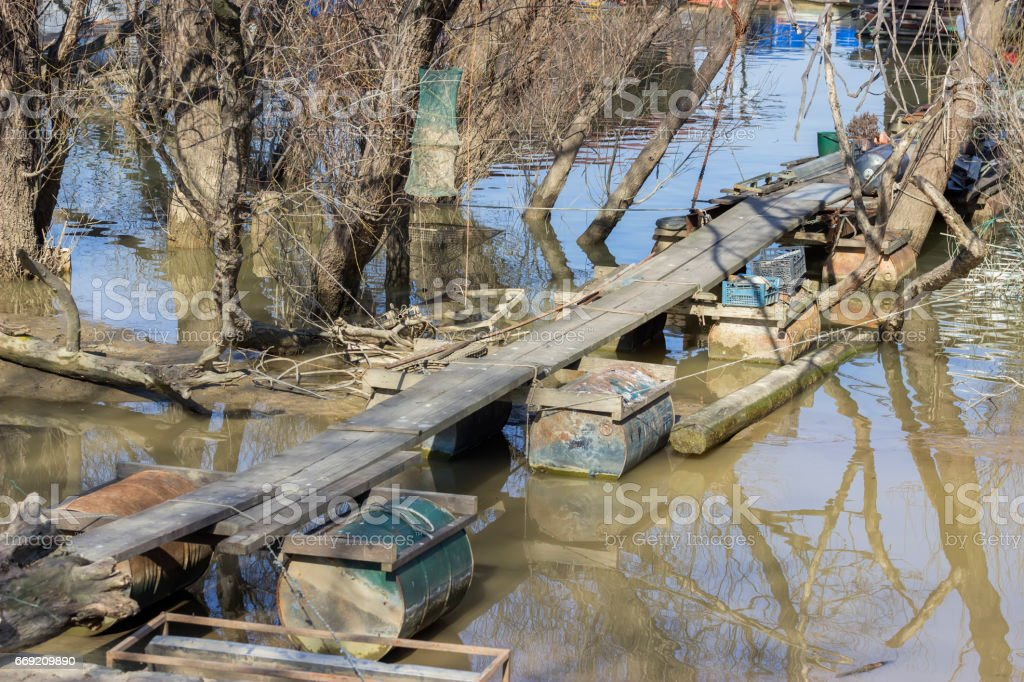 Bridge for wooden houseboat stock photo
