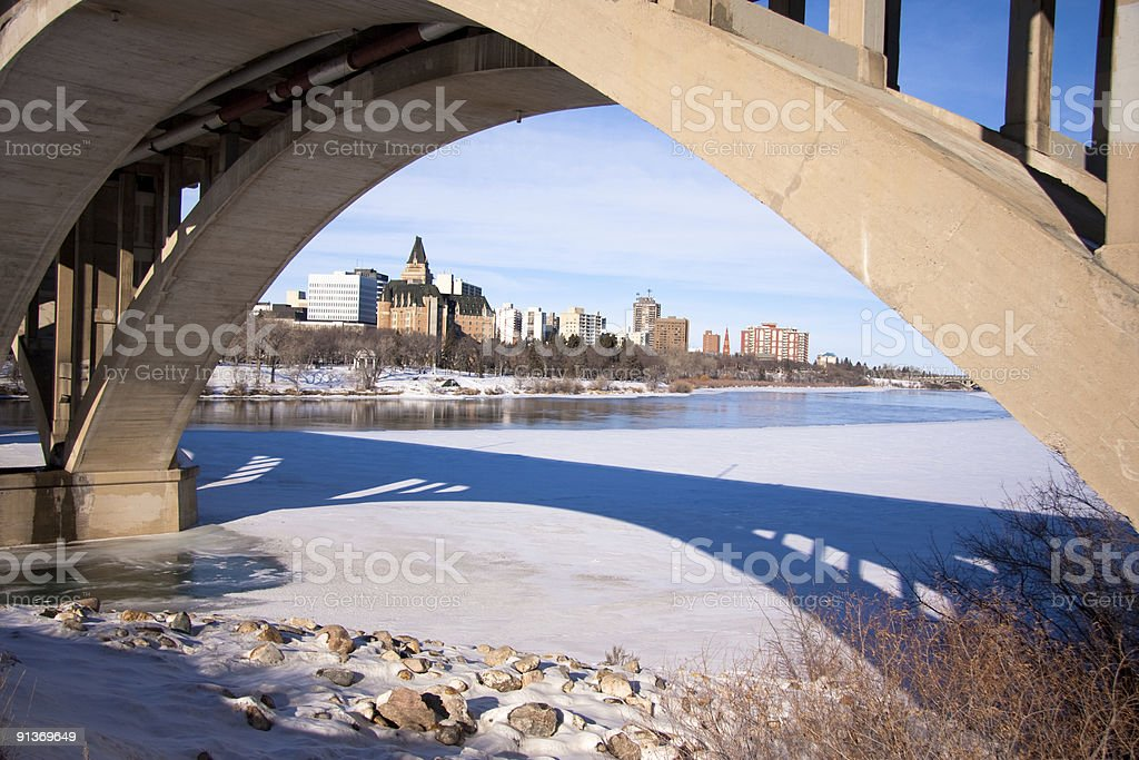 Bridge framing downtown Saskatoon stock photo