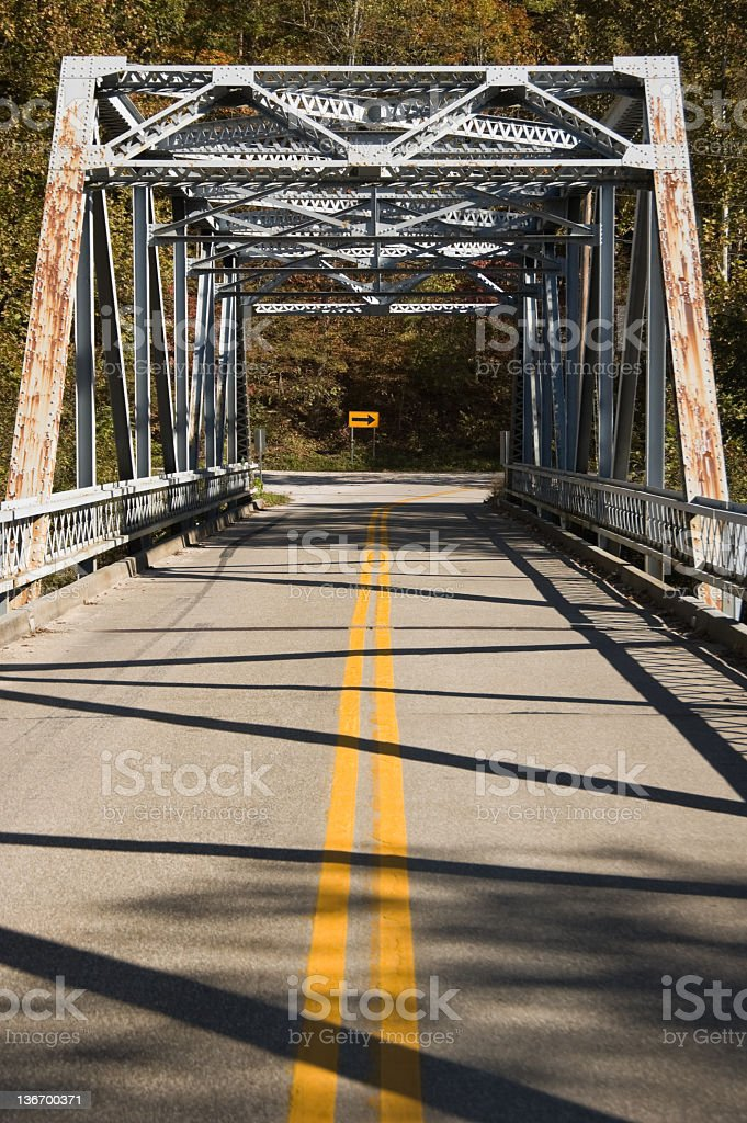 Bridge Head On View, Two Lane Road, Old Girder Type stock photo