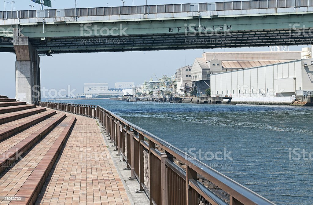 Bridge height at high tide is fifteen meters royalty-free stock photo