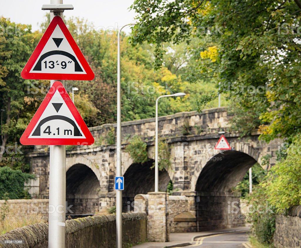 Bridge height warning signs stock photo