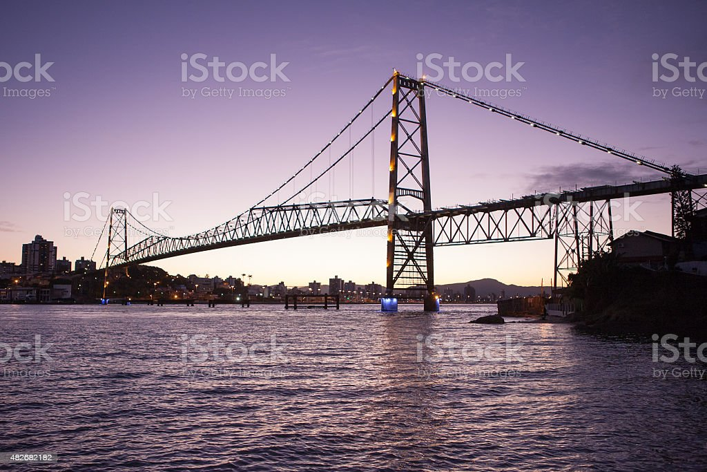 Bridge Hercilio Luz Florianopolis stock photo