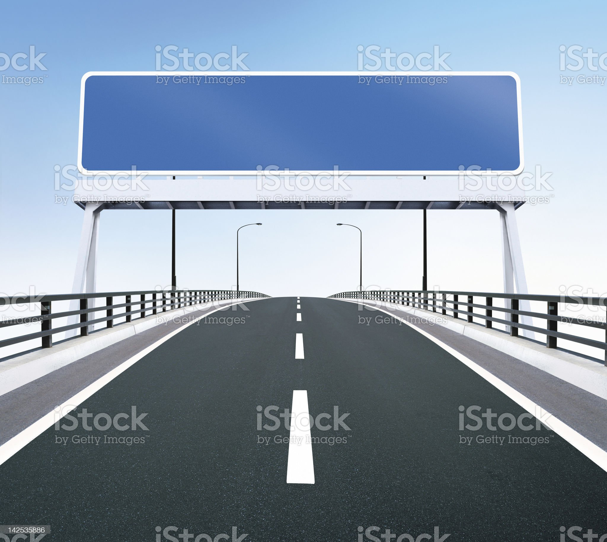 Bridge highway with blank sign royalty-free stock photo