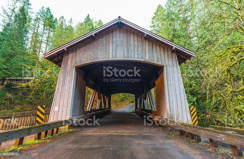 bridge house shape,scene of the Cedar creek grist mill. stock photo