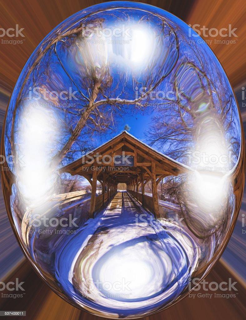 Bridge in a bubble. stock photo