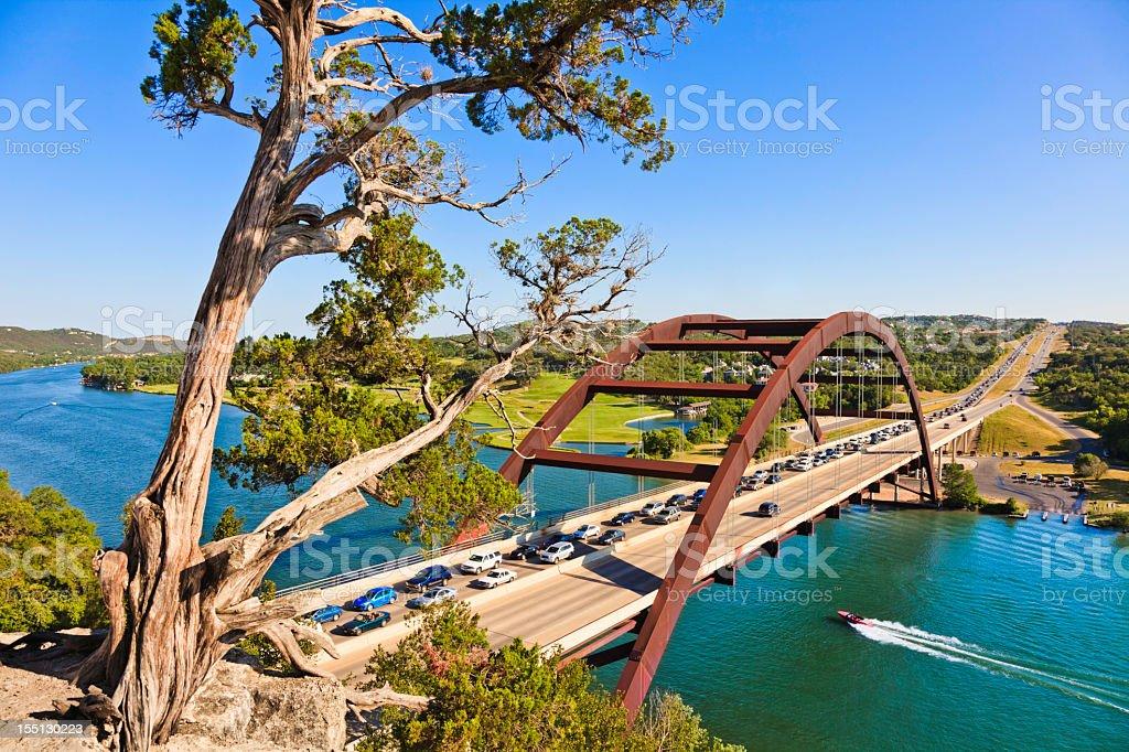 360 bridge (Pennybacker Bridge) in Austin Texas stock photo