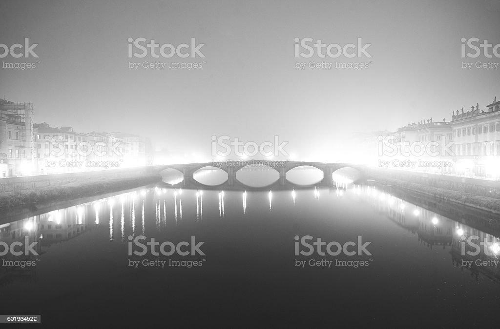 Bridge In Florence In The Fog stock photo