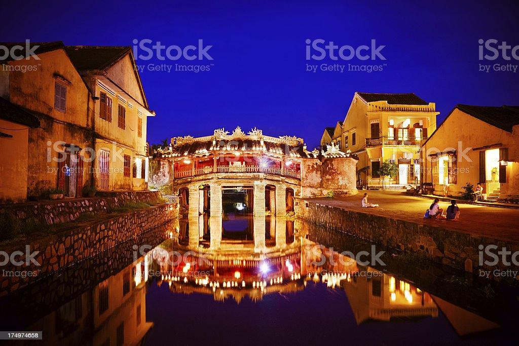 Bridge in Hoi An at night stock photo