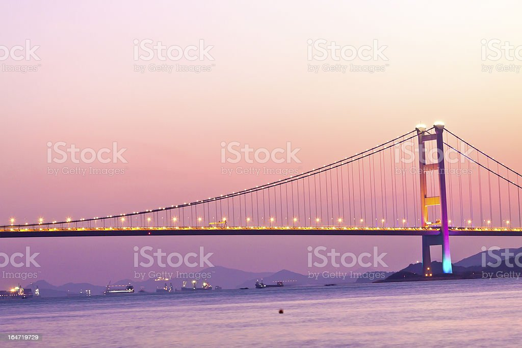 Bridge in Hong Kong at sunset royalty-free stock photo