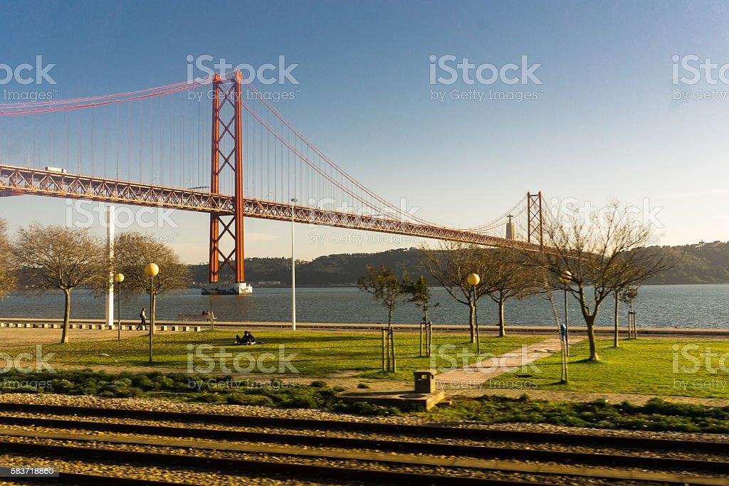Bridge in Lisbon, Portugal stock photo